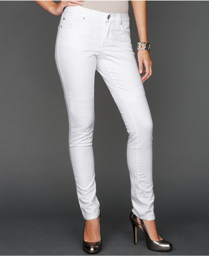 INC International Concepts Petite Curvy-Fit Skinny Jeans, White Wash