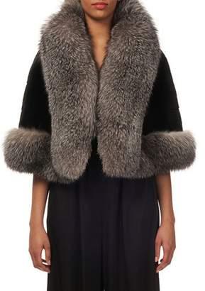 Gorski Plucked Mink-Fur Horizontal Capelet w/ Fox-Fur Tuxedo Trim
