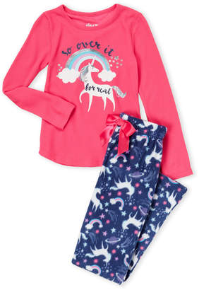 Sleep On It (Girls 7-16) Two-Piece So Over It Unicorn Pajama Set