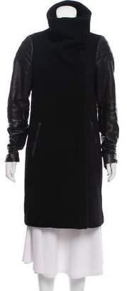 Diane von Furstenberg Lulu Leather-Accented Coat