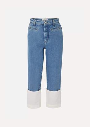 Loewe Fisherman Cotton Poplin-paneled Cropped Boyfriend Jeans - Indigo