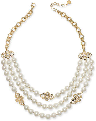 "Charter Club Gold-Tone Openwork Flower & Imitation Pearl Triple-Row Statement Necklace, 18"" + 2"" extender"