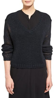 Eileen Fisher Fisher Project V-Neck Organic Cotton Tape Box Top, Black $258 thestylecure.com