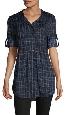 Style&Co. Style & Co. Plaid Roll-Tab Sleeve Tunic
