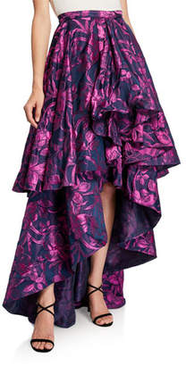 Flor et.al Talia Floral Jacquard Tiered High-Low Skirt