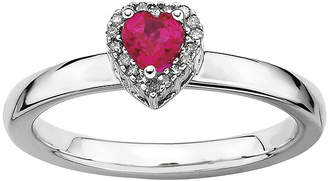 FINE JEWELRY Personally Stackable Diamond-Accent Lab-Created Ruby Heart Ring
