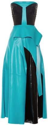 Roksanda Wyman Strapless Leather Dress - Womens - Black Multi