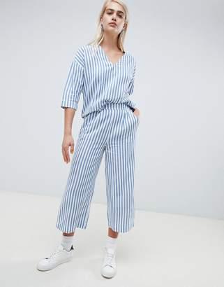 Moss Copenhagen Wide Leg Culotte Pants In Summer Stripe Two-Piece