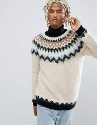 Asos DESIGN mohair wool blend fairilse roll neck sweater