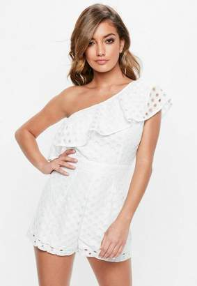 Missguided Ivory One Shoulder Lace Frill Playsuit, Ivory