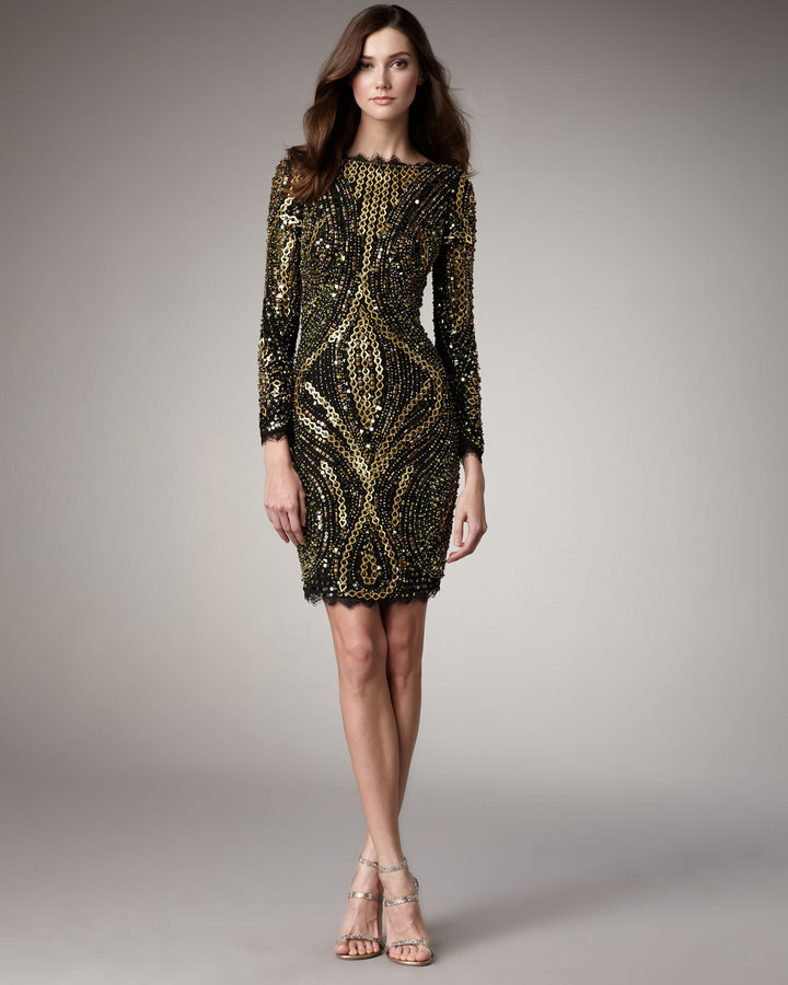 Mandalay Three-Quarter Sleeve Beaded Dress