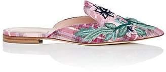 Alberta Ferretti Women's Floral-Embroidered Twill Mules - Pink