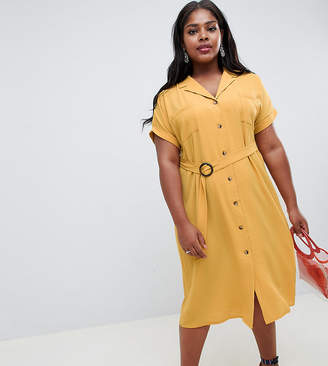 New Look Plus Curve button through shirt dress in yellow