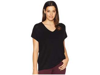 Anne Klein Short Sleeve Double V-Neck Knit Top Women's Clothing