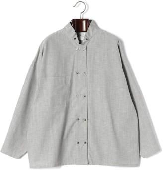 Black Mouton (ブラック ムートン) - Black Mouton ウィング風スタンドカラー ダブル 長袖ビッグシャツ グレー f