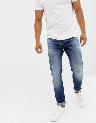Jack and Jones Jeans In Tapered Fit Washed Blue Denim