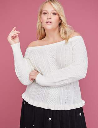 Lane Bryant Off-the-Shoulder Cable Sweater