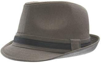Black Brown 1826 Faux Leather-Trimmed Cotton Fedora