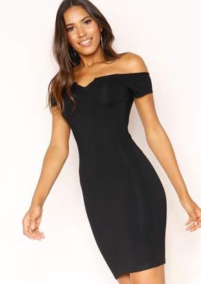 8984c9c479 Missy Empire Missyempire Samera Black Bardot V Dress