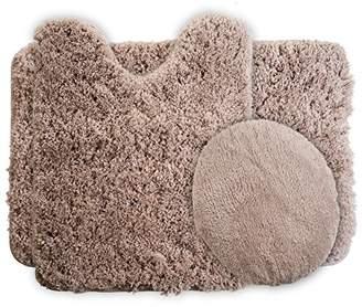 Lavish Home 3-Piece Super Plush Non-Slip Bath Mat Rug Set