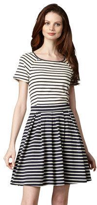 Tibi Striped Pleat-Skirt Dress