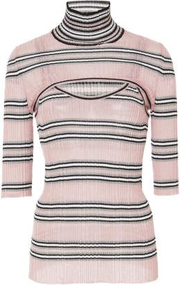 MRZ Cutout Striped Lurex Turtleneck Top