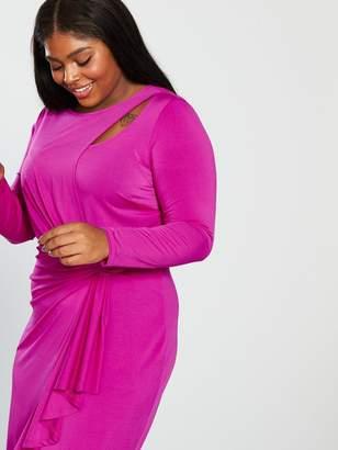 cced4b2135e V By Very Curve V by Very Curve Slinky Jersey Dress - Hot Pink