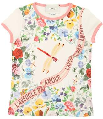 Gucci Dragonfly Print Cotton Jersey T-Shirt