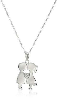 Celebrations Sterling Boy and Girl with Cubic Zirconia Heart Pendant Necklace