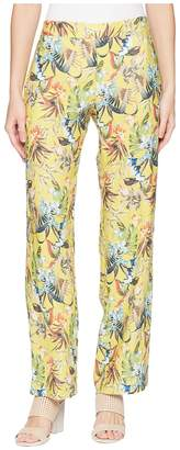 Elliott Lauren Printed Linen Elastic Waist Relaxed Pants with Pockets Women's Casual Pants