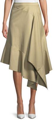 Palmer Harding palmer//harding Spicy Asymmetric Draped Poplin Midi Skirt