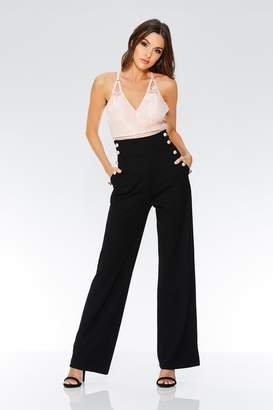 a35f0be76ceb36 Quiz Black Crepe High Waist Palazzo Trousers