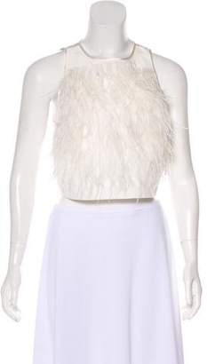 Tibi Ostrich Feather-Trimmed Crop Top w/ Tags