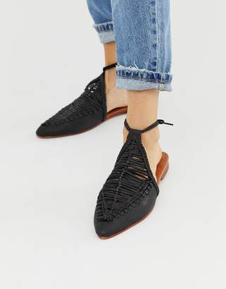 Free People Dana leather woven flat mules with ankle ties