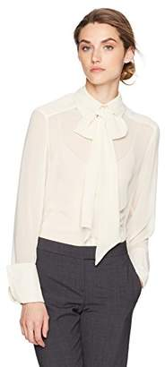 Max Studio Women's Flared Cuff Button Down with Neck Tie
