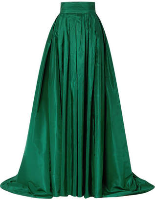 Carolina Herrera Pleated Silk-satin Maxi Skirt - Emerald