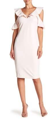 Rachel Roy Ruffle Cold Shoulder V-Neck Midi Dress