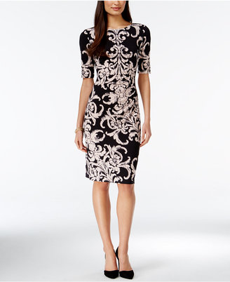 Connected Short-Sleeve Printed Sheath Dress $69 thestylecure.com