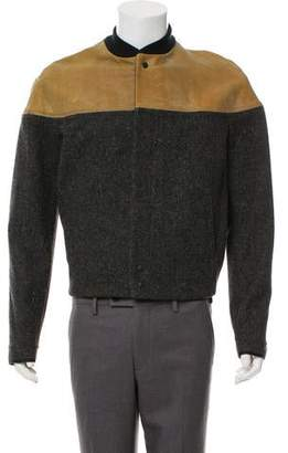 Balenciaga Leather-Trimmed Bomber Jacket