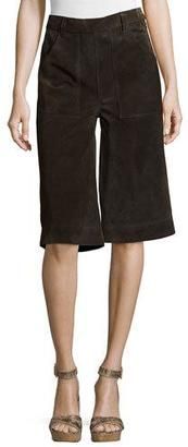 FRAME Le Gaucho Cropped Pants, Dark Brown $649 thestylecure.com