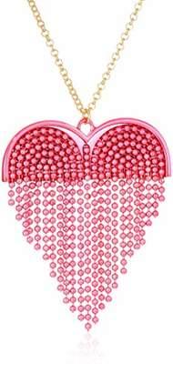 Betsey Johnson GBG) Women's Pink Fringe Heart Pendant Long Necklace