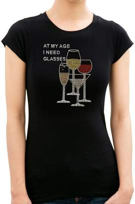 BLING BLING COUNTRY At My Age I Need Glasses Wine Rhinestone/Stud Women's T shirt