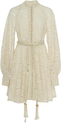 Zimmermann Amari Belted Lace Mini Dress