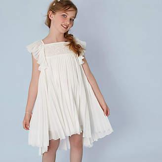 River Island Girls cream pleated lace flower girl dress