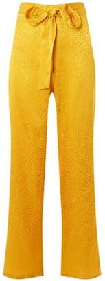 Dorothy Perkins Womens Yellow Belted Jacquard Palazzo Trousers
