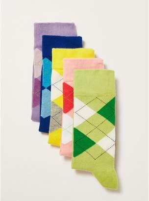 Topman Mens Multi Bright Colour Argyle Socks 5 Pack