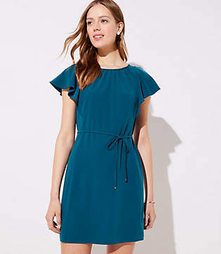 LOFT Flutter Tie Waist Dress