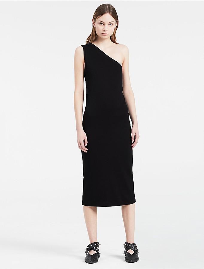 Calvin Klein Platinum One-Shoulder Tank Dress - ShopStyle