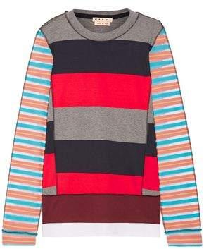 Marni Mesh-Paneled Striped Cotton-Blend Sweater