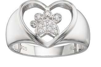 The Humane Society Of The United States HSUS Cubic Zirconia Sterling Silver Paw Print & Heart Ring
